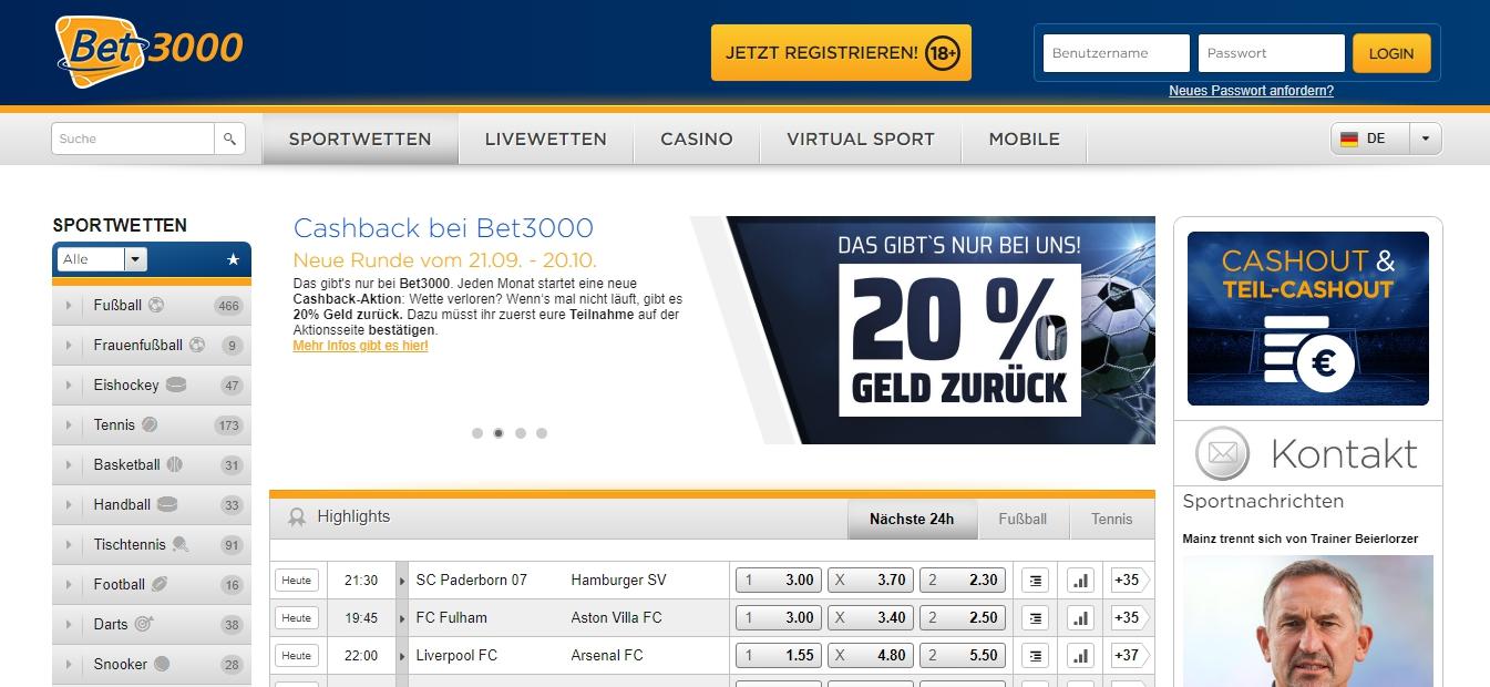 Sportwetten Bet3000 Bonus