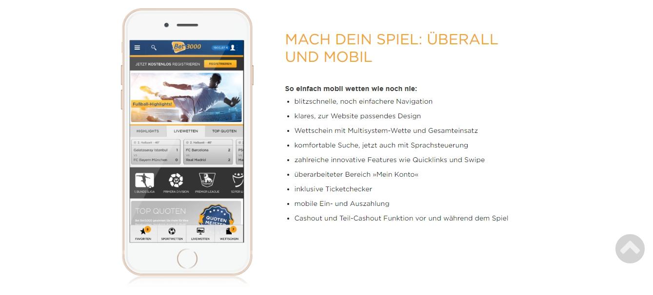 Bet3000 mobile Wetten App