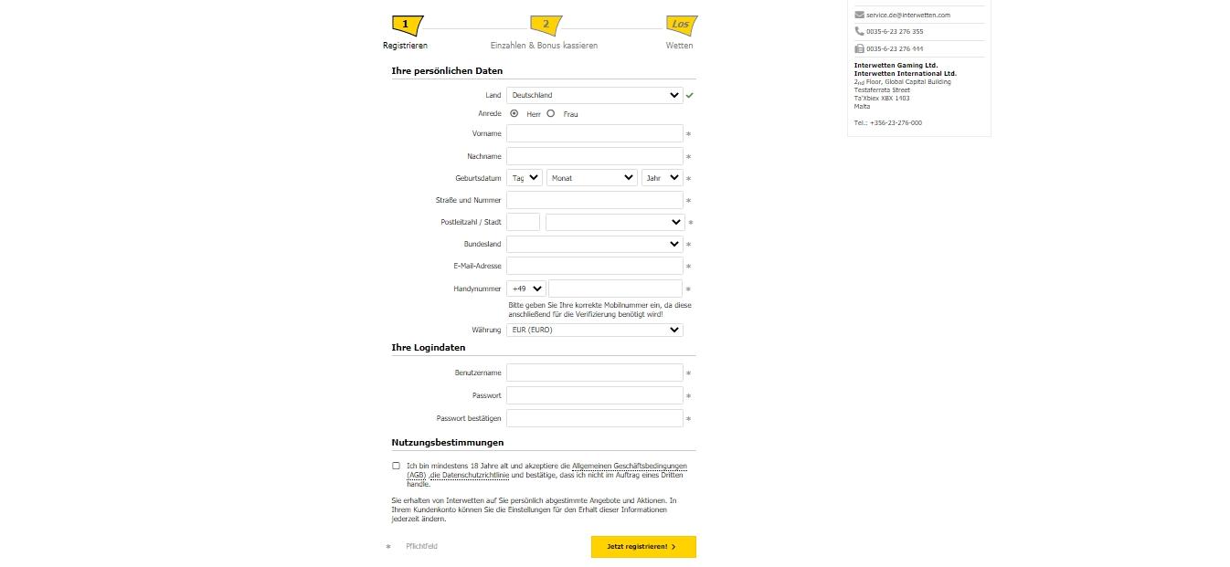 Registrierung bei Interwetten