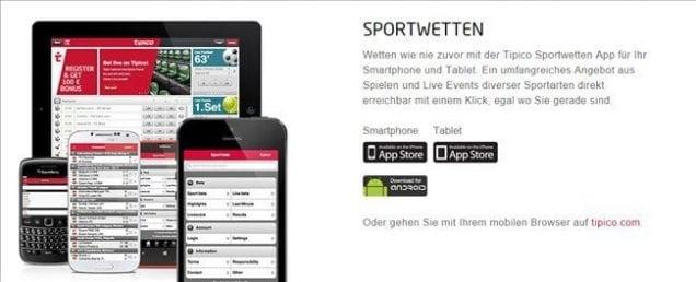 Abonnieren Sie Gutschein vom Wettanbieter von Tipico über Ihr Mobilgerät